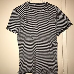 Forever 21 Distressed Stripe T-Shirt